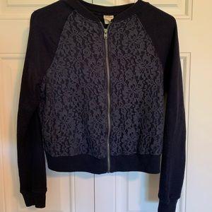 Hollister crop zip-up sweater